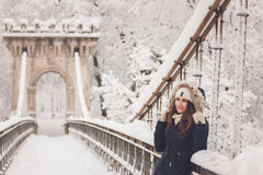 Winter portrait of a beautiful woman in the snowfall Stock Photography
