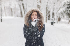 Winter portrait of a beautiful woman in the snowfall Stock Image