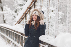 Winter portrait of a beautiful woman in the snowfall Stock Images
