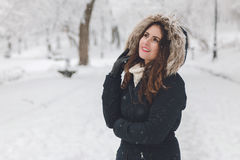Winter portrait of a beautiful woman in the snowfall Royalty Free Stock Photos