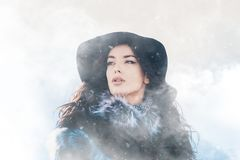 Winter portrait of beautiful young girl Stock Images