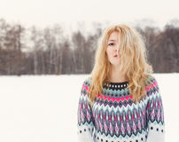 Winter portrait of a beautiful young girl. Warm colour Royalty Free Stock Photos