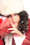 Winter portrait of a beautiful young smiling woman Stock Photos