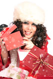 Winter portrait of a beautiful young smiling woman Royalty Free Stock Images