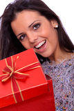 Winter portrait of a beautiful young smiling woman Royalty Free Stock Photos