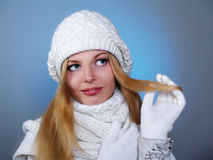 Winter portrait of a beautiful young woman Royalty Free Stock Photo