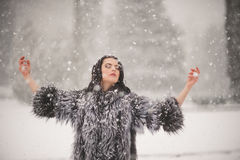 Winter portrait of Beauty girl with snow Stock Photos