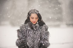 Winter portrait of Beauty girl with snow Royalty Free Stock Images