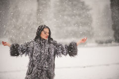 Winter portrait of Beauty girl with snow Stock Images