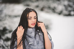 Winter portrait of Beauty girl with snow Stock Photography
