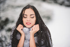 Winter portrait of Beauty girl with snow Royalty Free Stock Photo