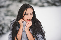 Winter portrait of Beauty girl with snow Stock Photo