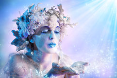 Winter portrait blowing snowflakes stock images
