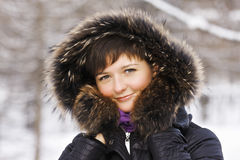 Winter portrait of brunette Stock Images