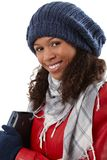 Winter portrait of cheerful afro woman Stock Images