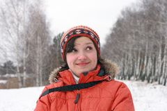 Winter portrait of cheerful girl Royalty Free Stock Photo