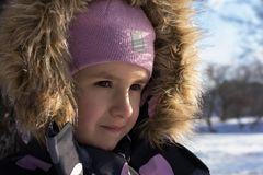 Winter portrait in cold weather.  Stock Image