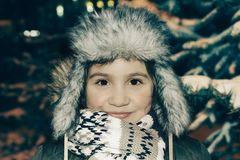Winter portrait in cold weather stock photography