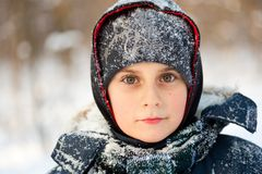 Winter portrait of a cute kid Royalty Free Stock Image
