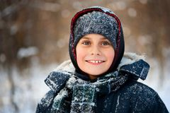 Winter portrait of a cute kid Royalty Free Stock Photo