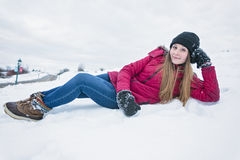 Winter portrait of cute pretty young girl Royalty Free Stock Photo