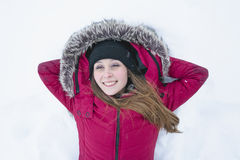 Winter portrait of cute pretty young girl stock image