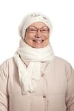 Winter portrait of elderly lady smiling Stock Image