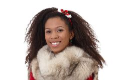 Winter portrait of ethnic girl with fur Royalty Free Stock Photos