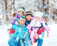 Winter portrait of a family Royalty Free Stock Image