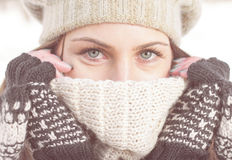 Winter Portrait of Female with Beautiful Blue Eyes Stock Images