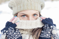 Winter Portrait of Female with Beautiful Blue Eyes Royalty Free Stock Photos