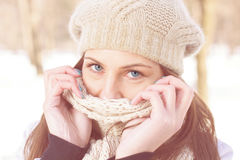Winter Portrait of Female with Beautiful Blue Eyes Stock Image