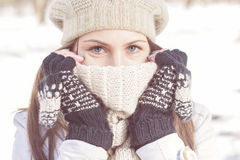 Winter Portrait of Female with Beautiful Blue Eyes Royalty Free Stock Images