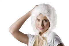 Winter portrait with fur hat Stock Photography