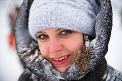 Winter portrait of a girl. Very cold Royalty Free Stock Photography