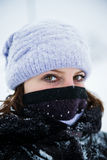Winter portrait of a girl. Very cold Royalty Free Stock Photo