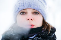 Winter portrait of a girl. Very cold Royalty Free Stock Images