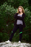 Winter portrait of the girl. Winter portrait of girl athletes. Which deals with winter sports Royalty Free Stock Photos