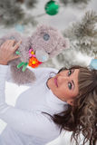 Winter portrait girl with bear toy Royalty Free Stock Photo