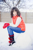 Winter portrait of a girl. Winter portrait of a blue-eyed girl. winter Royalty Free Stock Images