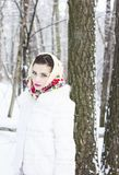 Winter portrait of a girl. C decoration Royalty Free Stock Images