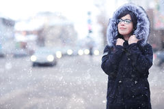 Winter portrait of a girl in the city Stock Image
