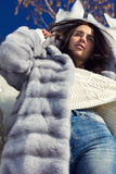 Winter portrait of a girl in a fur coat Royalty Free Stock Image