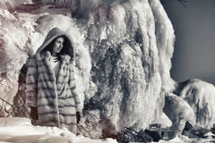 Winter portrait of a girl in a fur coat Stock Photos