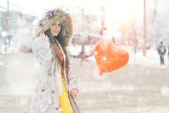 Winter portrait of a girl Stock Images