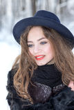 Winter portrait of a girl. In a hat Stock Image