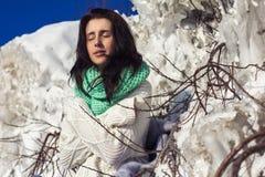 Winter portrait of a girl near ice Stock Photo