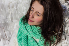 Winter portrait of a girl near ice Royalty Free Stock Photography