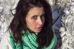 Winter portrait of a girl near ice Royalty Free Stock Images