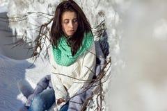 Winter portrait of a girl near ice Stock Photos
